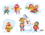 Fototapety Playing outdoor. Children sledding. Boy and girl playing in snowballs. Schoolchildren making the snowman. Girl trying to catch snowflakes with her tongue. Funny cartoon character. Vector illustration.