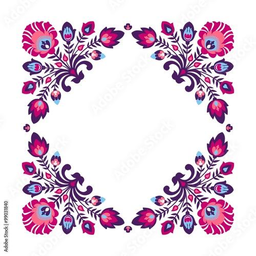 Fototapeta Purple folk floral frame