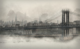 Vintage style monochromatic panorama of New York - 99043242