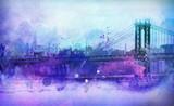 Painterly View of NYC Manhattan Bridge and River - 99043267