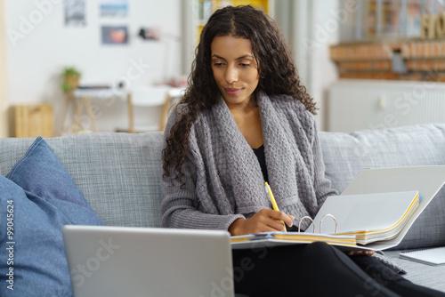 Poster frau lernt zuhause mit computer und unterlagen
