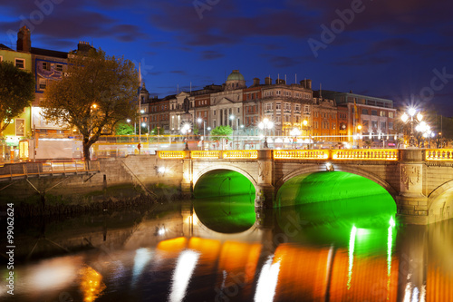 Dublin at night down by the Liffey River Poster