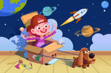 Fototapety Illustration for Children: Little Doggie, We are in Space now! A Boy's Fancy. Realistic Fantastic Cartoon Style Artwork Scene, Wallpaper, Story Background, Card Design