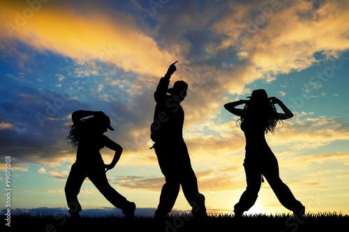 people dancer hip hop at sunset Plakát