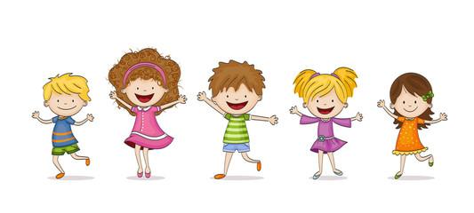 Czworo dzieci śmieszne kreskówki