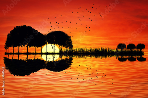 Plakat Trees arranged in a shape of a guitar on a sunset background. Music island with a guitar reflection in water