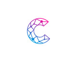 Connect Line Letter C Logo Design Template Element