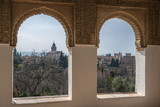 Nice windows and a view of the ancient Arabian palace Alhambra. Granada, Spain