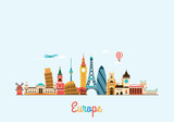Europe skyline. Travel and tourism background.