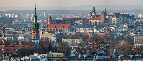 Fotobehang Krakau Panoramic view of Royal Wawel Castle in Krakow and St. Joseph's Church, view from Krakus Mound