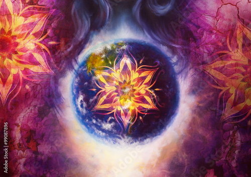 oriental ornamental mandala and Earth. color abstract background with desert crackle. - 99087896