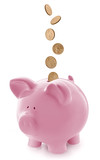 Pink Piggy Bank with Falling Gold Coins