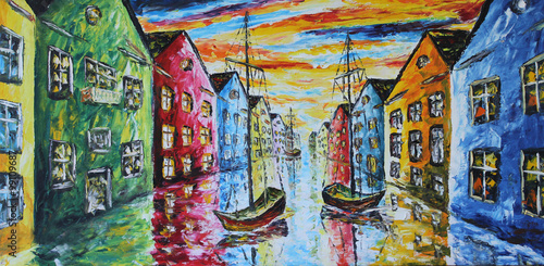 Obraz na Szkle Venice boat floating in the streets, oil painting