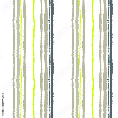 Seamless strip pattern. Vertical lines with torn paper effect. Shred edge background. Cold soft gray, olive, white colors. Winter theme. Vector © valeriaz