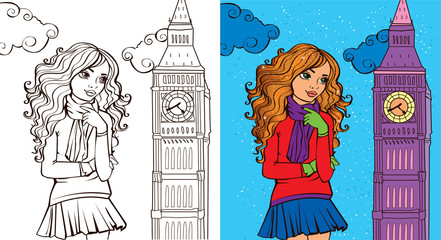 Colouring Book Of Girl In London