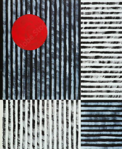 an abstract painting, black and white stripes with a red disc - 99124679