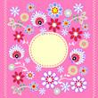 folkowe kwiaty i ramka na różowym tle