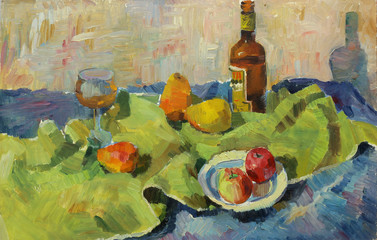 Beautiful Original Oil Painting of still life glass; bottle; tray; pear; apple; fabric; shade On Canvas in the style of Impressionism