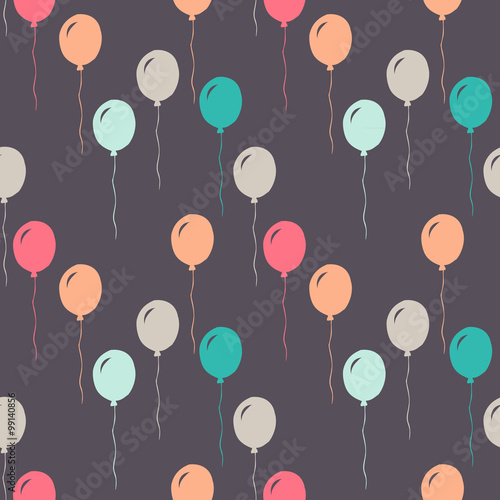 vector pattern of colorful balloons and confetti, on gray background - 99140856