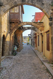 RHODES ISLAND, GREECE December 2014  The street and building of