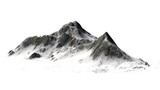 Snowy Mountains peaks separated on white background - 99167407