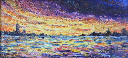Obraz sunset over the lake, oil painting