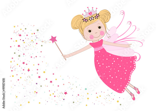 Fototapeta Cute fairy tale with stars vector background