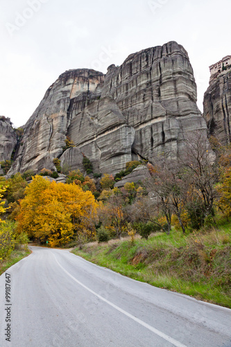 Poster Greek monasteries surrounded by cliffs, Meteora, Greece