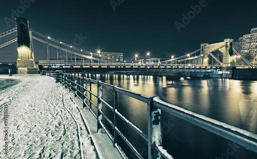 Zdjęcia na płótnie, fototapety na wymiar, obrazy na ścianę : view on bridge at night in winter time in wroclaw, poland
