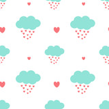 Fototapety cute cartoon clouds drops hearts romantic and lovely seamless vector pattern background illustration