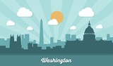 Washington skyline - flat design