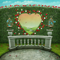 Green pastel background with cage on railing and  window in shape of  heart