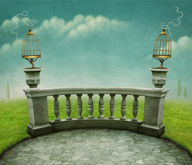 Green pastel background with cage on railing