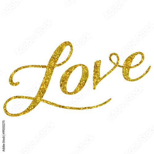 Póster Love Gold Faux Foil Glitter Cita metalizada aislada en blanco Bac
