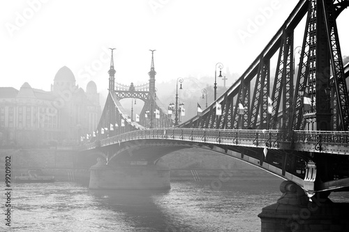 Bridge in the fog. Budapest, Hungary. - 99209802