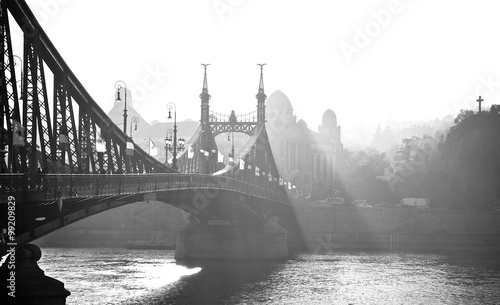 Bridge in the fog. Budapest, Hungary. - 99209829