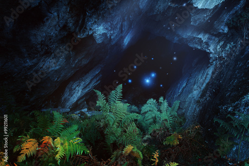 Dark magical cave with mountain spirits