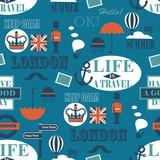 blue british newspaper texture seamless pattern - 99212243