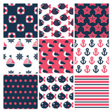 set of  nine colorful marine seamless patterns - 99213018