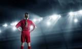 Fototapety Kid girl soccer player