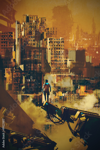 man standing on futuristic architecture,illustration