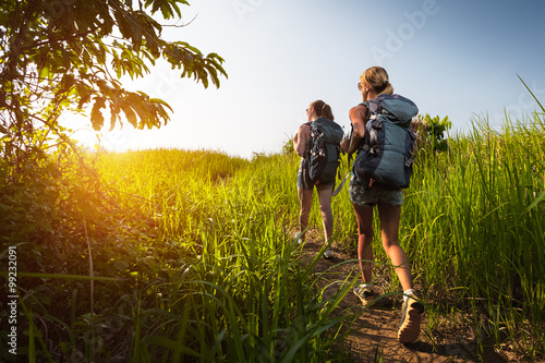 Hikers with backpack Poster