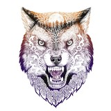 Tattoo head wolf grinning - 99246414