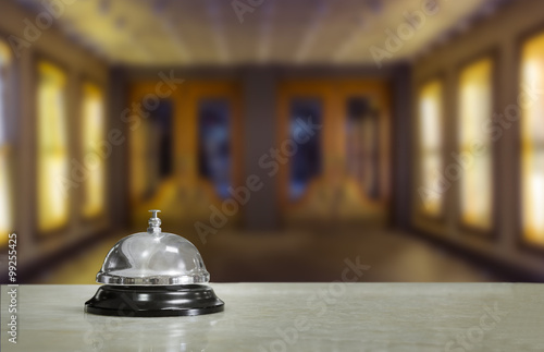 Hotel lobby with service bell and doors