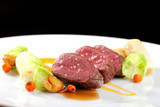 Fine dining, Venison meat steak with vegetable
