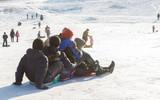 Children on sleds in winter