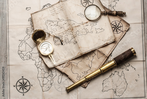 An old brass compass on map background