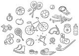 Set of cartoon sport Things, vector