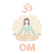 Vector hand getrokken illustratie met een leuk meisje dat yoga doet
