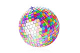 Fototapety Multicolor disco ball on white background